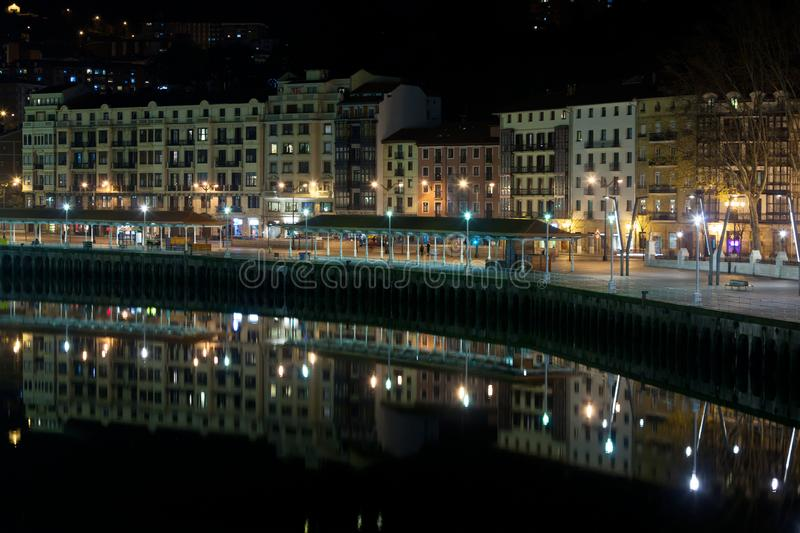 Bilbao, Basque Country, Spain cityscape at night royalty free stock photo