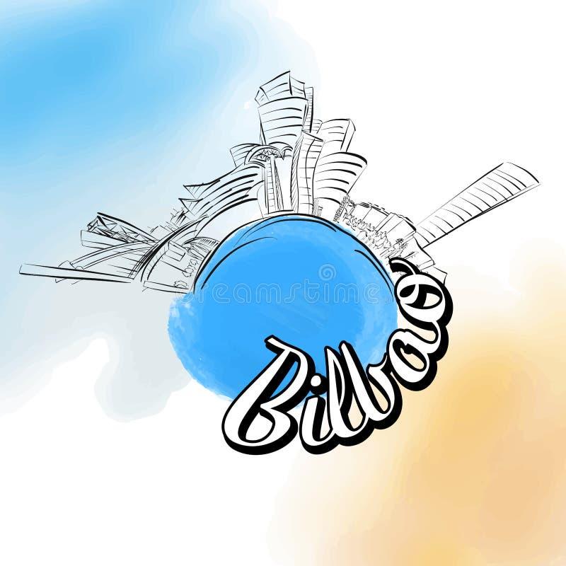 Bilbao coloriu o logotipo do marco ilustração stock