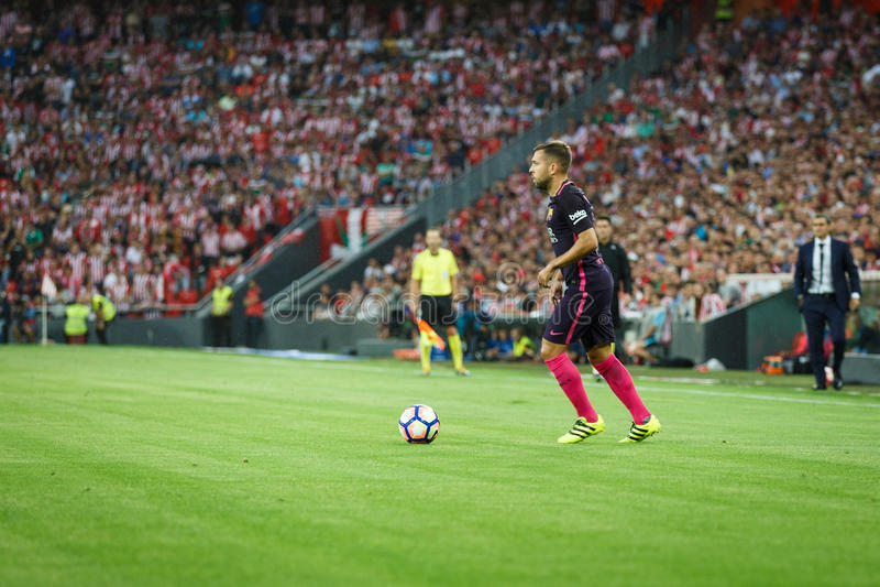 BILBAO, ESPAÑA - 28 DE AGOSTO: Jordi Alba en el partido entre el Athletic de Bilbao y el FC Barcelona, celebrados el 28 de agosto imagen de archivo libre de regalías
