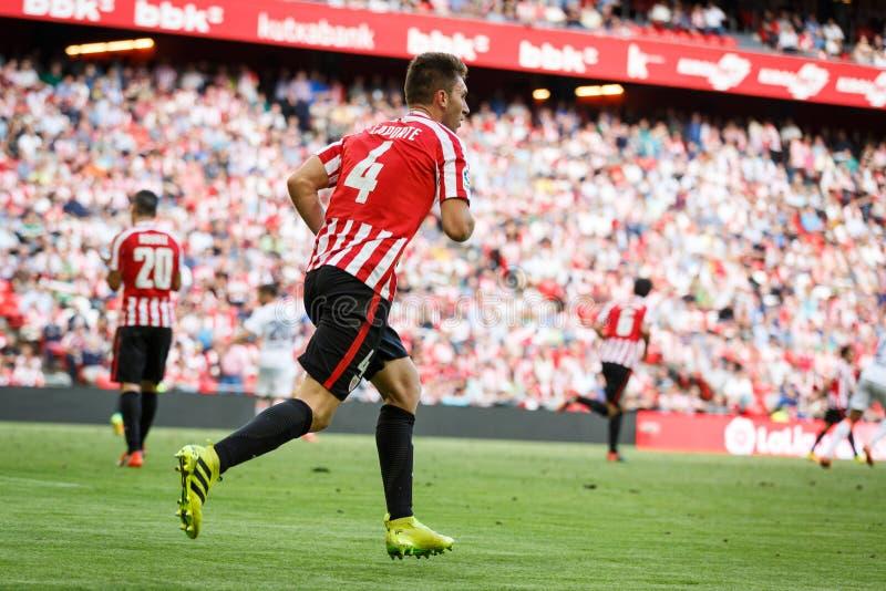 BILBAO, ESPAÑA - 18 DE SEPTIEMBRE: Aymeric Laporte, jugador atlético de Bilbao del club, en el partido entre el Athletic de Bilba foto de archivo
