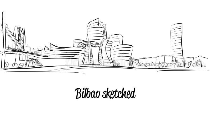 Bilbao linia horyzontu, ręka rysująca Wektorowa grafika ilustracja wektor