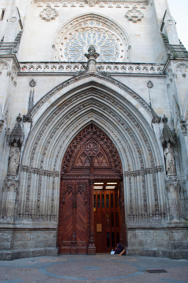 Bilbao, province of Biscay, Basque Country, Spain, Iberian Peninsula, Europe. Bilbao, Basque Country, 25/01/2017: the entrance portal of the Cathedral Basilica royalty free stock image