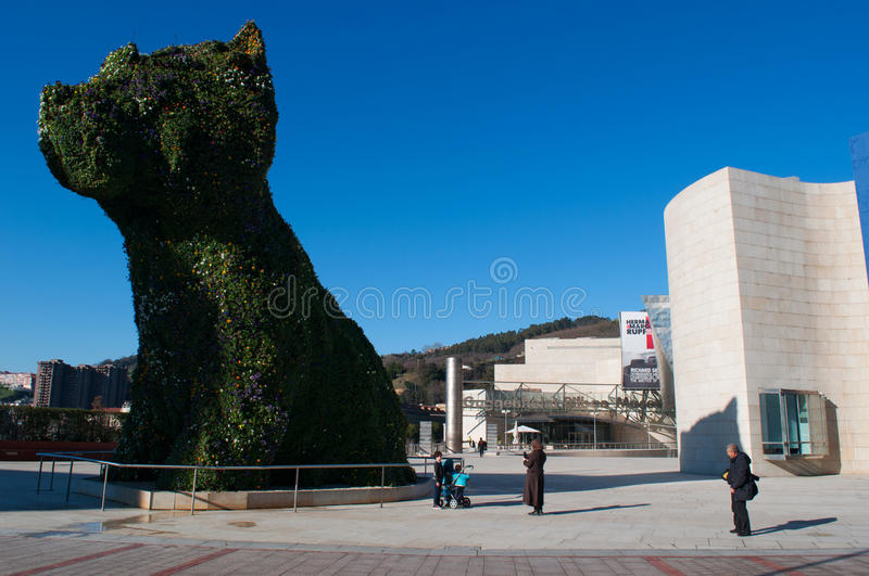 Bilbao, province of Biscay, Basque Country, Spain, Iberian Peninsula, Europe. Spain, 25/01/2017: the flower sculpture Puppy, created in 1992 by the artist Jeff stock image