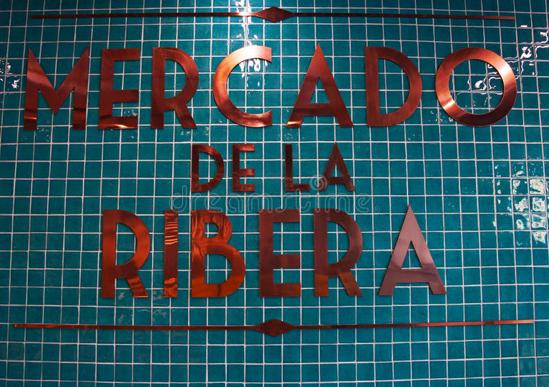 Mercado de la Ribera, Ribera Market, sign, Bilbao, province of Biscay, Basque Country, Spain, Iberian Peninsula, Europe. Bilbao, 25/01/2017: the interior sign at stock images