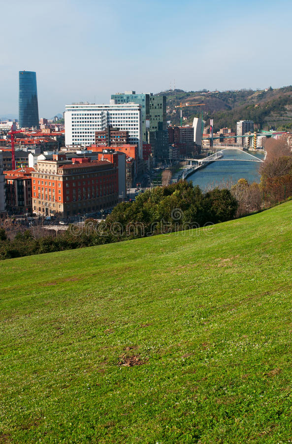 Bilbao, province of Biscay, Basque Country, Spain, Iberian Peninsula, Europe. Basque Country, Spain, 25/01/2017: the skyline of Bilbao and Nervion River with stock photo