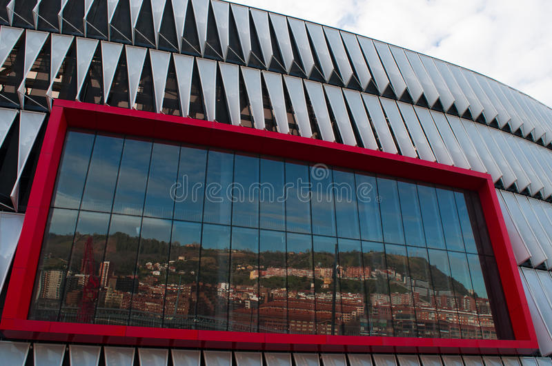 Bilbao, province of Biscay, Basque Country, Spain, Iberian Peninsula, Europe. Bilbao, 26/01/2017: skyline reflected on the screen of the San Mames Stadium, known stock photos