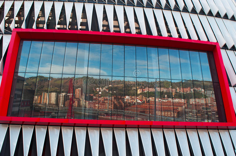 San Mames Stadium, stadium, Bilbao, province of Biscay, Basque Country, Spain, Iberian Peninsula, Europe. Bilbao, 26/01/2017: skyline reflected on the screen of stock photography