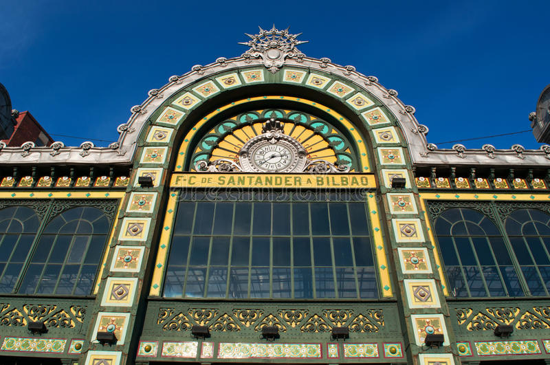 Bilbao Concordia station, details, decorations, Bilbao, province of Biscay, Basque Country, Spain, Iberian Peninsula, Europe. Basque Country, Spain, 26/01/2017 royalty free stock photography