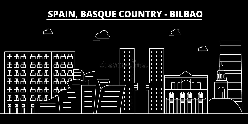 Bilbao, skyline Basque da silhueta do país, cidade do vetor, arquitetura linear espanhola, construções Bilbao, país Basque ilustração royalty free