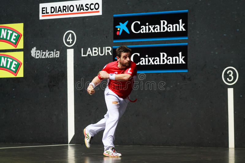 BILBAO, SPAIN - APRIL 9: Pablo Berasaluze in the match previous to the handball championship game of pairs, celebrated on April. 9, 2016 in Bilbao, Spain royalty free stock photos
