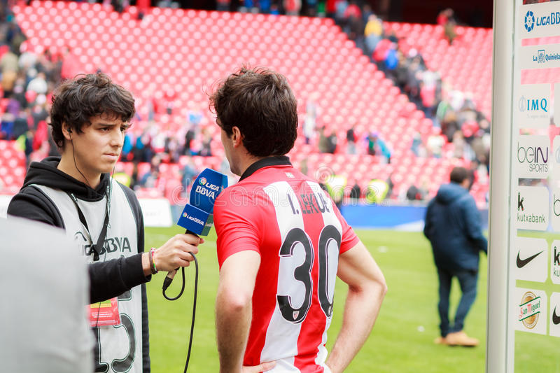 BILBAO, SPAIN - ARPIL 3: Inigo Lekue of Athletic Club Bilbao in a sports interview after the a Spanish League match against royalty free stock images