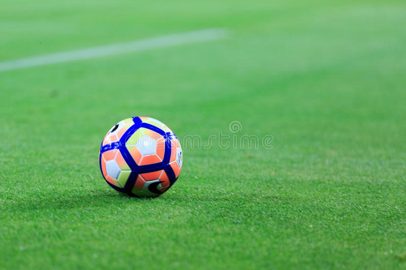 BILBAO, SPAIN - AUGUST 28: Close-up of the Nike ball during a Spanish League match between Athletic Bilbao and FC Barcelona, celeb stock photography