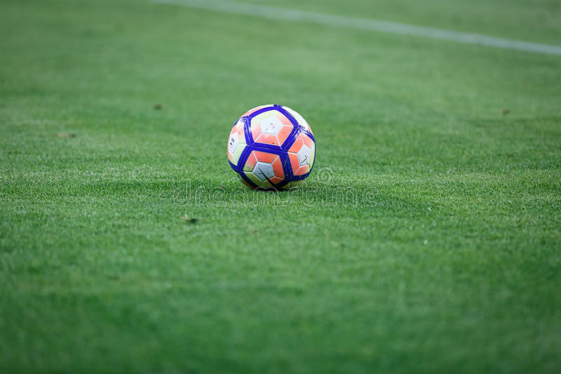 BILBAO, SPAIN - AUGUST 28: Close-up of the Nike ball during a Spanish League match between Athletic Bilbao and FC Barcelona, celeb. Rated on August 28, 2016 in royalty free stock image