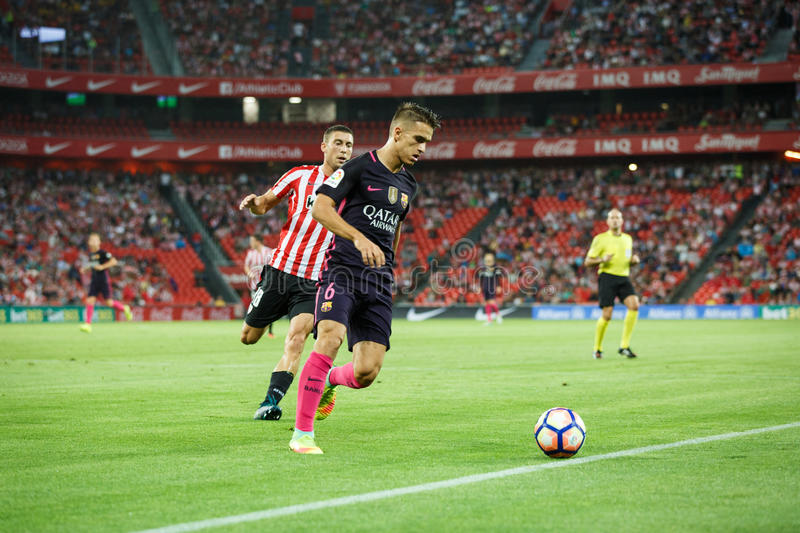 BILBAO, SPAIN - AUGUST 28: Denis Suarez, FC Barcelona player, in action during a Spanish League match between Athletic Bilbao and royalty free stock photography