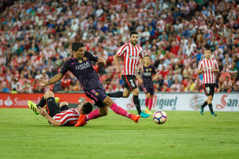 BILBAO, SPAIN - AUGUST 28: Luis Suarez, FC Barcelona player, in action during a Spanish League match between Athletic Bilbao and F. C Barcelona, celebrated on royalty free stock images