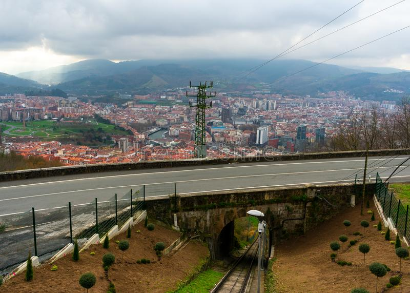 Bilbao, Spain/Europe; 29/12/18: Artxanda funicular railway in Bilbao, Spain. Park, basque, country, vehicle, european, railroad, rails, tourist, mountain, city royalty free stock photography