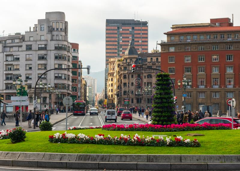 Bilbao, Spain/Europe; 29/12/18: Beautiful roundabout in front of Bilbao's town hall and Ernesto Erkoreka square royalty free stock images