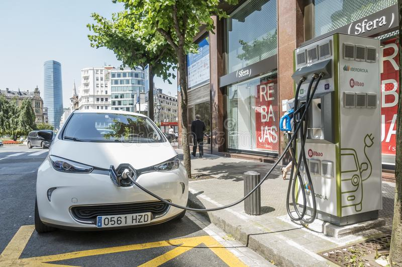 Bilbao, Spain-june 26, 2018: Electric cars Renault Zoe are being charged at the charging stations in Bilbao. stock photography