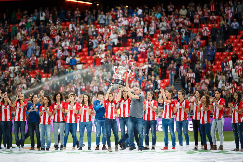 BILBAO, SPAIN - SEPTEMBER 18: Bilbao female team offers the league cup winner to the public before to the match Athletic Bilbao an royalty free stock image