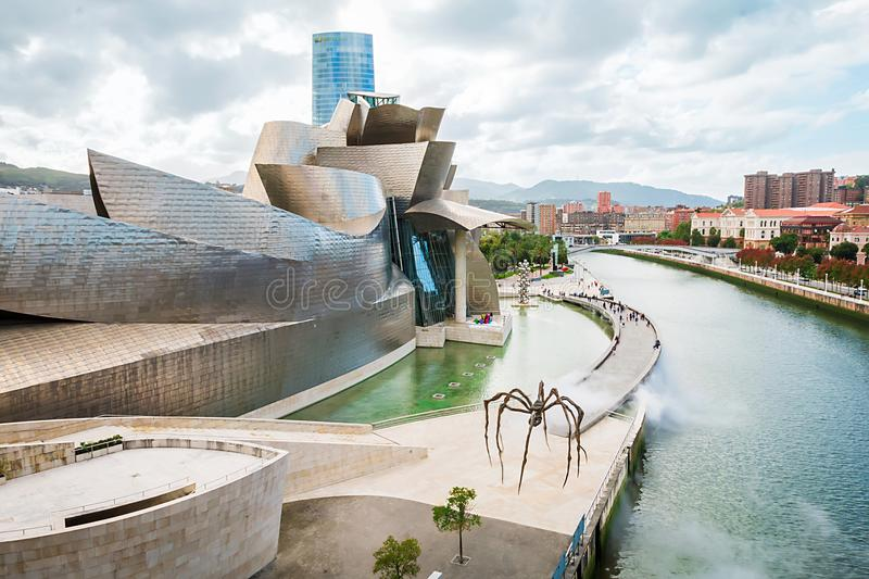 Guggenheim Bilbao museum. BILBAO, SPAIN - September 2017: Guggenheim Bilbao museum in Bilbao, Spain. Designed by Frank Gehry stock images
