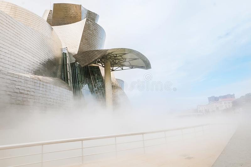 Guggenheim Bilbao museum. BILBAO, SPAIN - September 2017: Guggenheim Bilbao museum in Bilbao, Spain. Designed by Frank Gehry stock photos