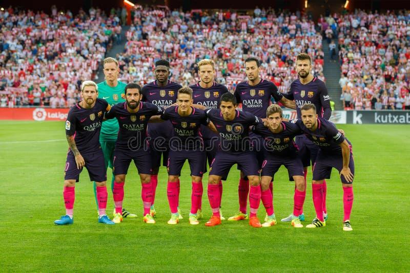 BILBAO SPANIEN - AUGUSTI 28: FCet Barcelona poserar för pressen i matchen mellan idrotts- Bilbao och FCet Barcelona, firat på A arkivfoto