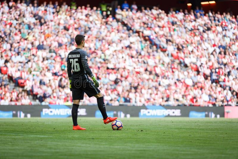 BILBAO SPANIEN - SEPTEMBER 18: Kepa Arrizabalaga Bilbao målvakt, under en spansk ligamatch mellan idrotts- Bilbao och dal arkivfoton