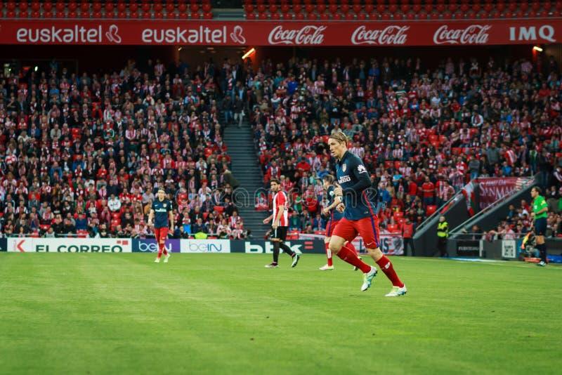 BILBAO, SPANJE - APRIL 20: Fernando Torres in de gelijke tussen Atletische die Bilbao en Athletico DE Madrid, op 20 April, 20 wor royalty-vrije stock foto's