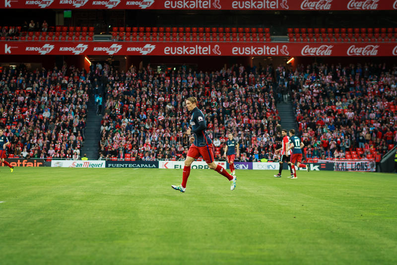BILBAO, SPANJE - APRIL 20: Fernando Torres in de gelijke tussen Atletische die Bilbao en Athletico DE Madrid, op 20 April, 20 wor stock afbeelding