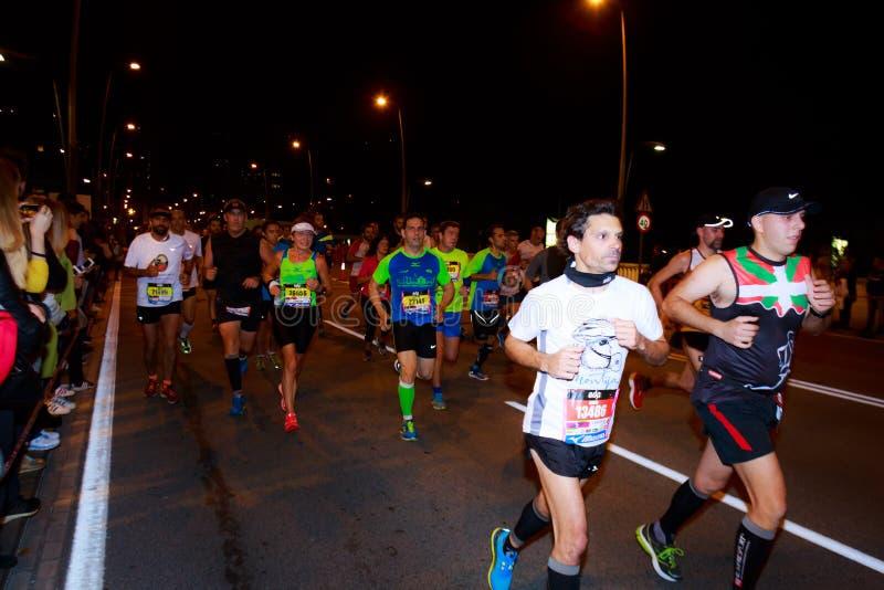 BILBAO, SPANJE - OKTOBER 22: De niet geïdentificeerde agent met handicap in de marathonnacht van Bilbao, vierde in Bilbao op 2 Ok royalty-vrije stock afbeeldingen