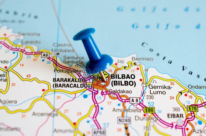 Bilbao sur la carte photo libre de droits