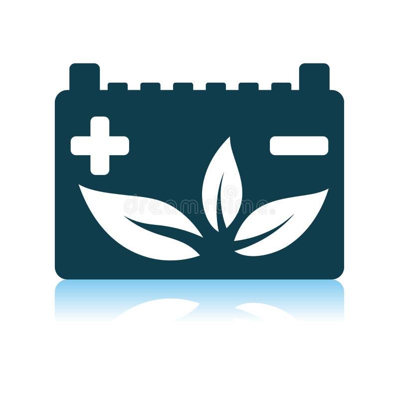 Bilbatteri med bladsymbolen stock illustrationer