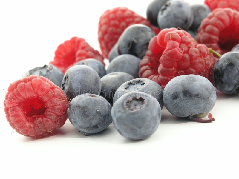 Bilberry and Raspberry stock image