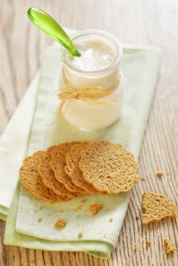 Bilberry yogurt and shortcake royalty free stock photo