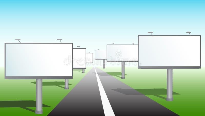 Bilboards perto da estrada ilustração stock