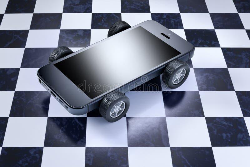 Bilcellen ringer mobil arkivbild