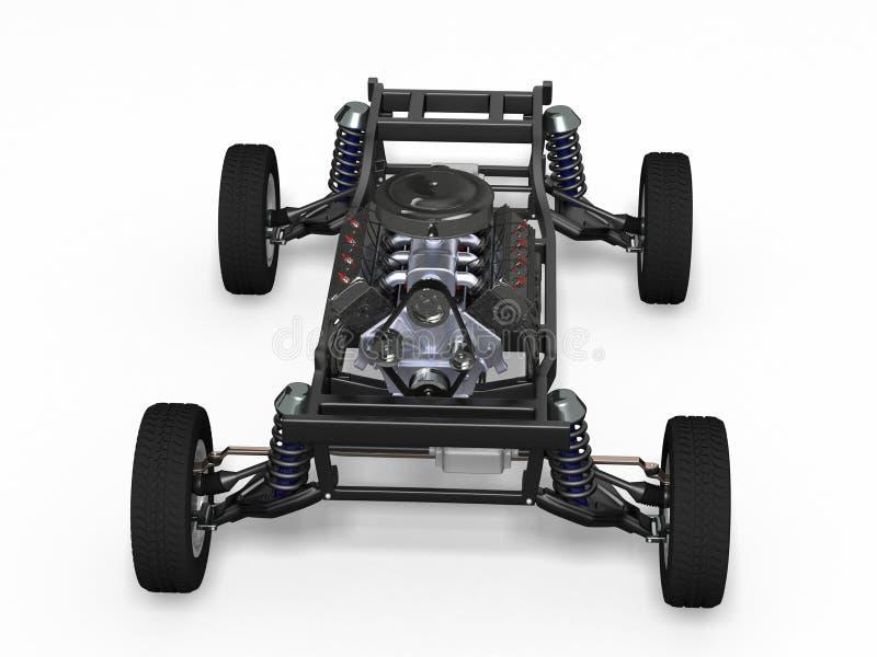 Bilchassi med motorn stock illustrationer