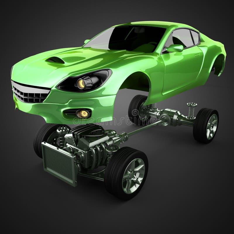Bilchassi med motorn av lyxigt brandless sportcar royaltyfri illustrationer