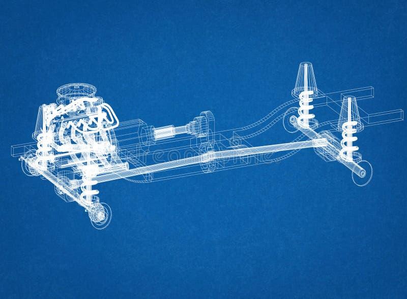 Bilchassi- och motordesign - ritning royaltyfria bilder