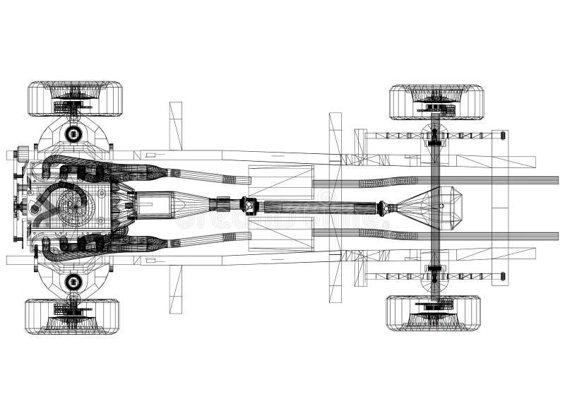 """Bilchassier och motordesign†""""gör en skiss av - isolerat vektor illustrationer"""