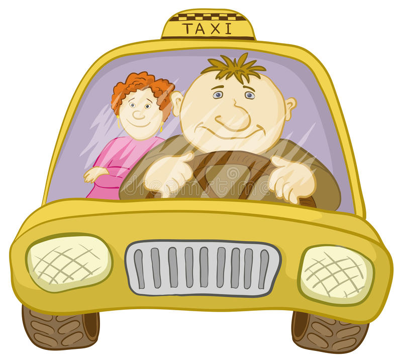 bilchaufförpassagerare taxar royaltyfri illustrationer