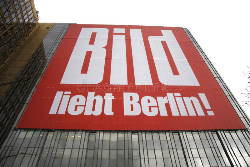 Bild advertisement. MAY 2008 - BERLIN: a large scale poster on the headquarters of the Axel Springer Publishing Company as an advertisement for the Bild Zeitung stock image
