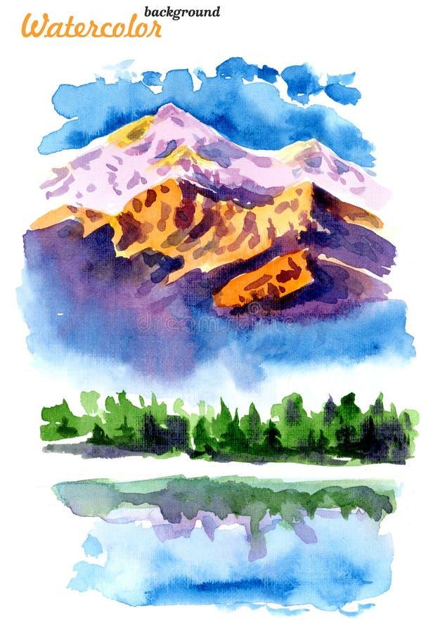 Bild av berg och sjöar royaltyfri illustrationer