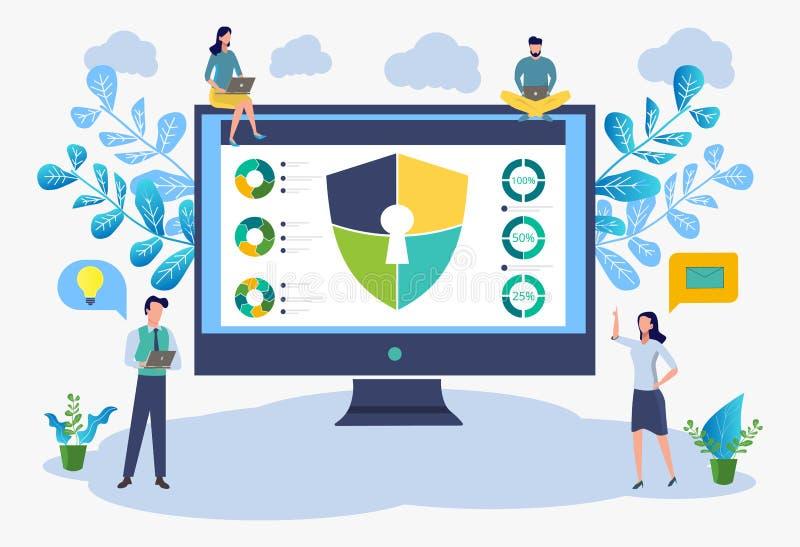 Bild av cybersäkerhetsbegreppet Illustrerar idén av cybersecurityen eller avskildhet F?rgrik illustration f?r vektor vektor illustrationer