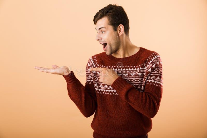Bild av den attraktiva man20-tal med borstet som bär den stack tröjan royaltyfria foton