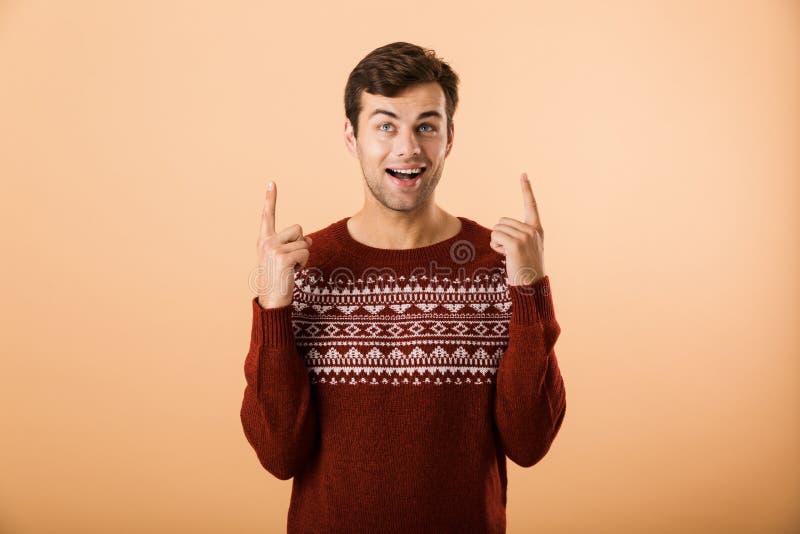 Bild av den caucasian man20-tal med borstet som bär den stack tröjan arkivfoto
