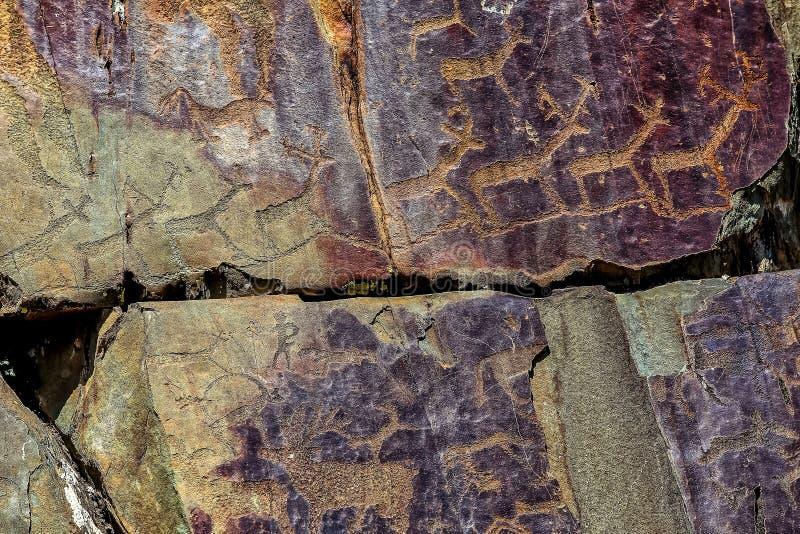 Bild av den forntida jakten på väggen av grottaockran Historisk konst axeln arkivbild