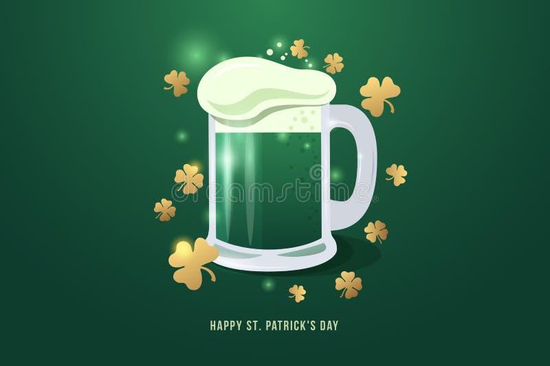 Bild av den halv literen av öl till dagen för St Patrick ` s Råna av öl med vita skum- och guldväxt av släktet Trifoliumsidor vektor illustrationer