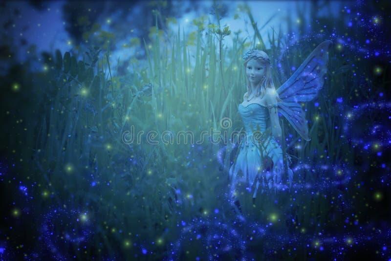 bild av den magiska lilla fen i nattskogen fotografering för bildbyråer