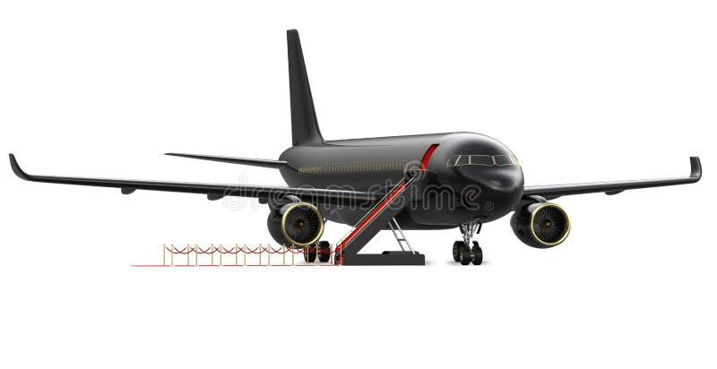 Bild av den privata strålen för svart lyxig charter, nivå storgubbeflygplan med en röd matta, isolat för tolkning 3d på vit royaltyfri illustrationer